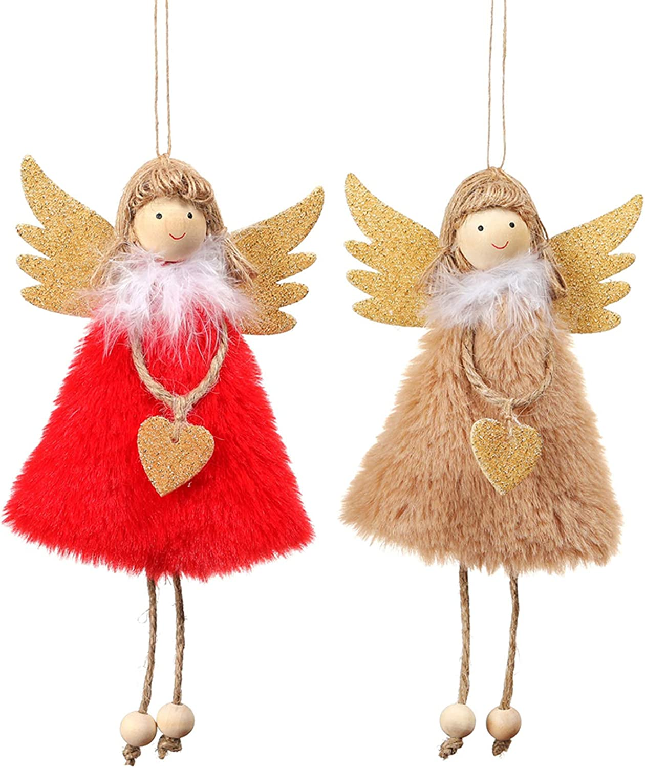 PGYFIS Christmas Decoration 2 Pieces Angel Doll Pendant Tree Hanging Ornaments Christmas Crafts Elves Decorations (Angel-Red&Khaki): Kitchen & Dining