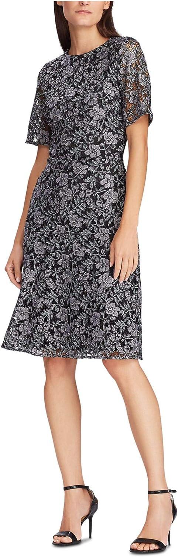 Lauren Ralph Lauren Women's Petite Floral Lace Dress (14P, Grey Black)