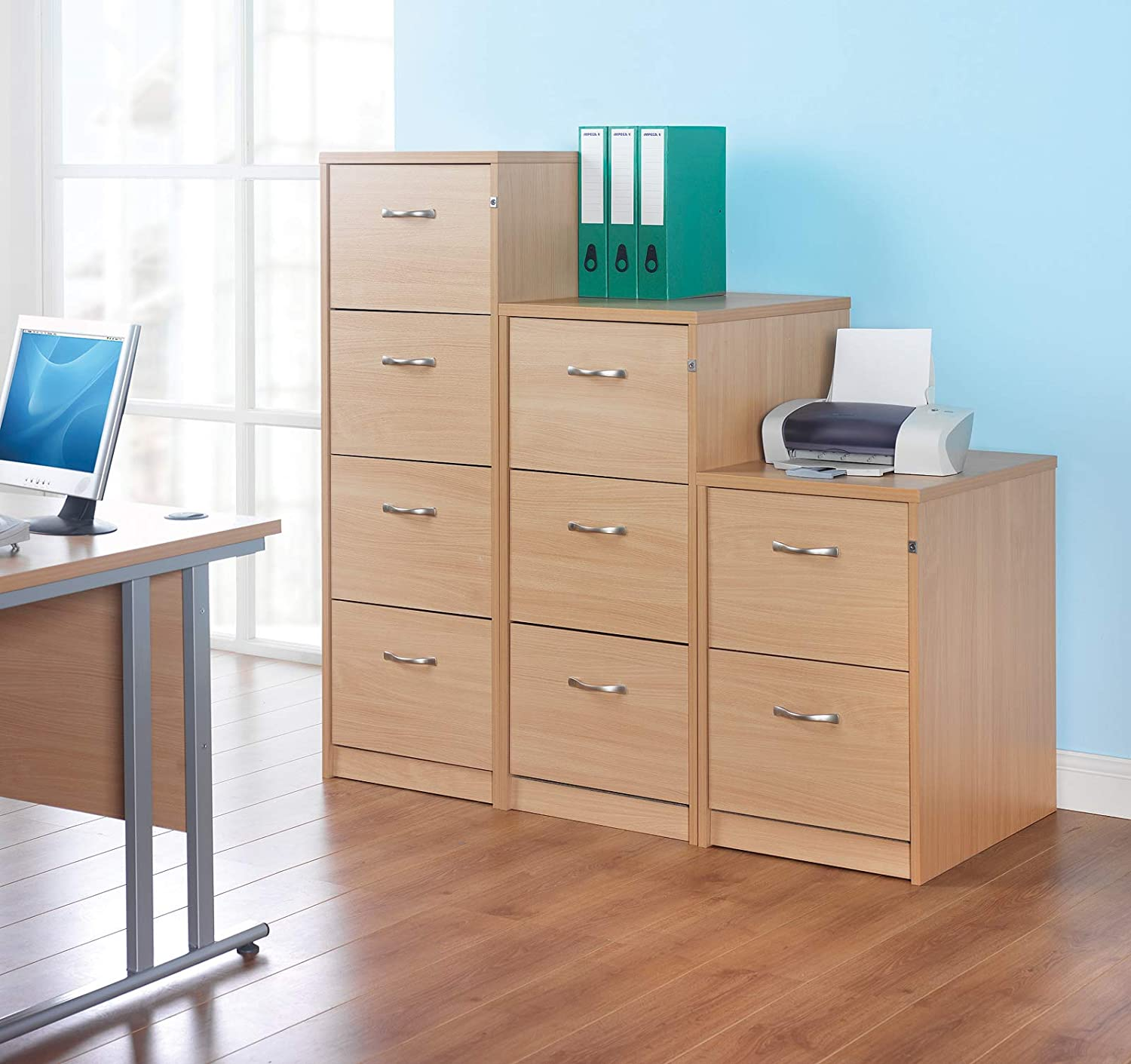 Deluxe executive 2 drawer filing cabinet with silver handles 730mm high Beech