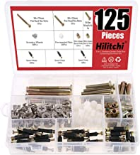 Hilitchi 125 Pcs 3 in 1 Cam Fitting with Dowel and Pre-Inserted Nut with Zinc Plated Hex Drive Socket Cap Furniture Barrel Nuts Crib Screws Assortment Kit Furniture Connecting Hardware Connectors