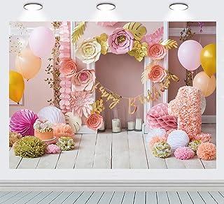 INRUI Happy 1st Birthday Fondo de papel de flores globos para tarta de madera, para bebé, de un año de edad, decoración de...