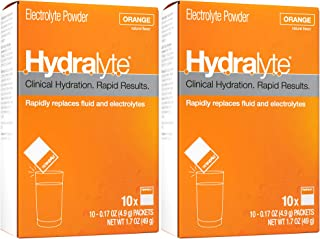 Hydralyte Electrolyte Hydration Powder Packets Formula, Orange, 10 Count (Pack of 2)