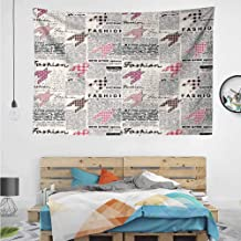 HuaWuChou Fashion Magazine Retro Tapestry Abstract, Dorm Decor for Living Room Bedroom, 90.5W x 59L Inches