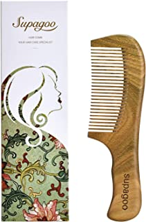 Natural Green Sandalwood Hair Comb,100% Hand Made Anti Static Wood Comb Scalp Massage Comb for Women or Girl