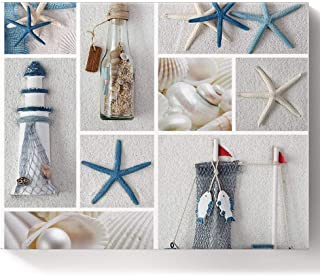 Fahome DIY Oil Painting Paint by Number Kits for Home Wall Decor, Coastal Nautical Sea Shell Starfish Lighthouse Ocean Mar...