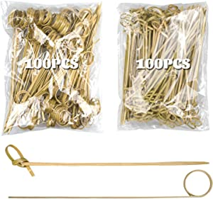 200Pcs Bamboo Cocktail Pick 6 Inch Food Appetizer Toothpick, LASZOLA Disposable Natural Bamboo Skewers Food Display Picks with Looped Knot and Loop Ring Fruit Toothpick for Cocktail Party
