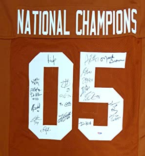 2005 National Champions Texas Longhorns Autographed Orange Jersey With 20 Signatures Including Vince Young & Mack Brown PSA/DNA