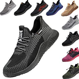 Drecage Lightweight Safety Shoes with Steel Toe Cap Safety Boots for Men and Women Work & Utility Footwear SneakersBlack1...