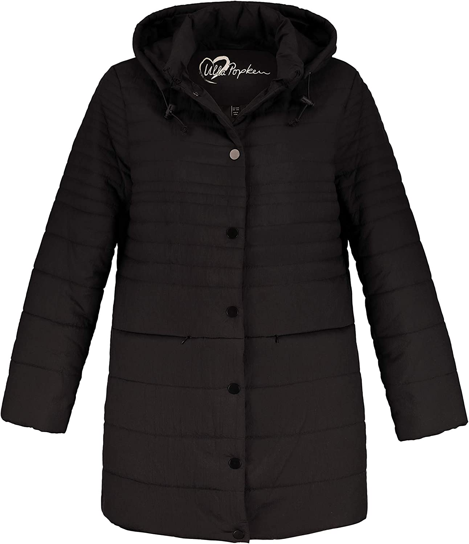 Ulla Popken Women's Plus Size Quilted Snap Front Long Jacket 717749