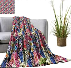 smllmoonDecor Country Blanket as Bedspread Vintage Bouquet Corsage Willow Lilies Hyacinths Muscari Botanical Bridal Print Large Throw Blanket Multicolor W50 xL60