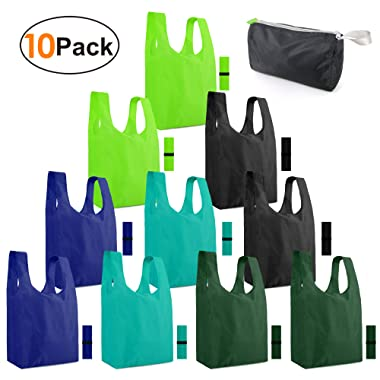 Reusable-Grocery-Bags-Shopping-Foldable-Tote Bags for Groceries 10 Pack XLarge Bags with Elastic Zipper Bags Gift Bags Machine Washable Lightweight Sturdy Moss Teal Green Black Navy