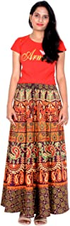 Rajvila 38 Inch Length Women's Cotton Printed Regular Long Elasti Skirt for Women (E_E38NT_0005)