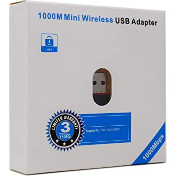 Terabyte 1000Mbps Mini Wireless USB Adapter (Black)