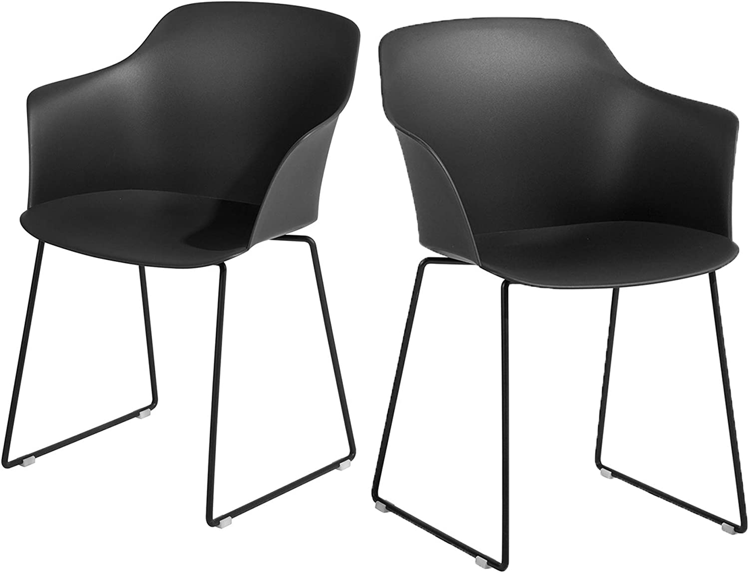 HOMY CASA Modern Living Room Dining Chairs, Large Side Chairs with Metal Leg for Kitchen Dining Room Bedroom Leisure Chairs Set of 2(Black)