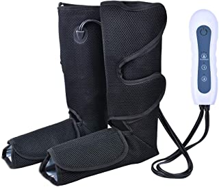 Air Compression Leg Massager for Foot and Calf Massage with Portable Handheld Controller Improve Blood Circulation - 4 Modes & 3 Intensities Portable (Black)
