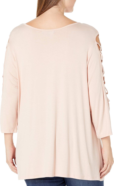 Rebel Wilson X Angels Womens Plus Size Laced Shoulder Detail Top Shirt