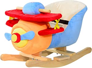 HOMCOM Caballo Balancin Niño Avion Peluche+Musica Cinturon