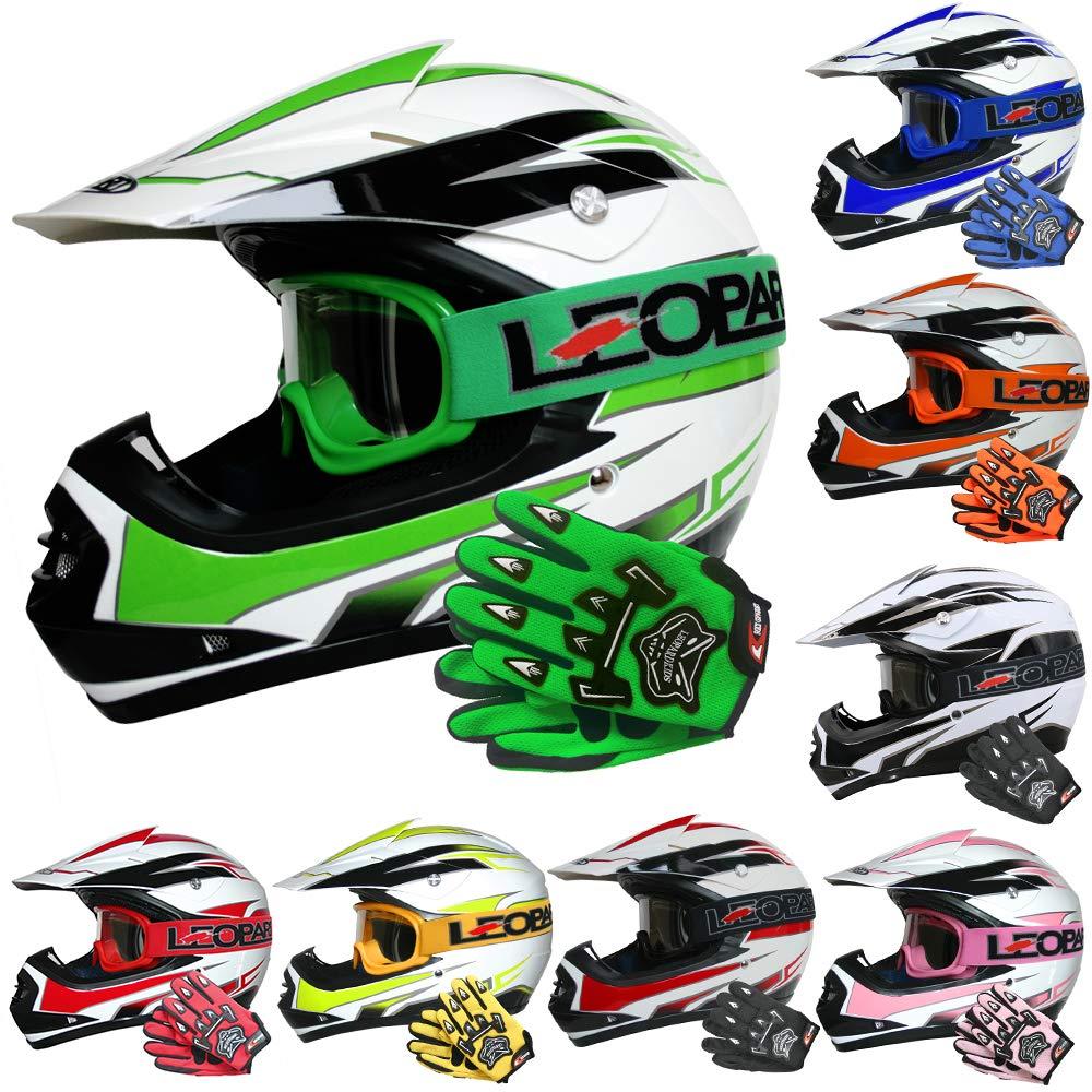 L 53-54cm for Boys Girls Quad Birt Bike Racing Karting L 7cm + Goggles Suit Leopard LEO-X16 Blue Kids Motocross Helmet + Gloves L 9-10 Yrs