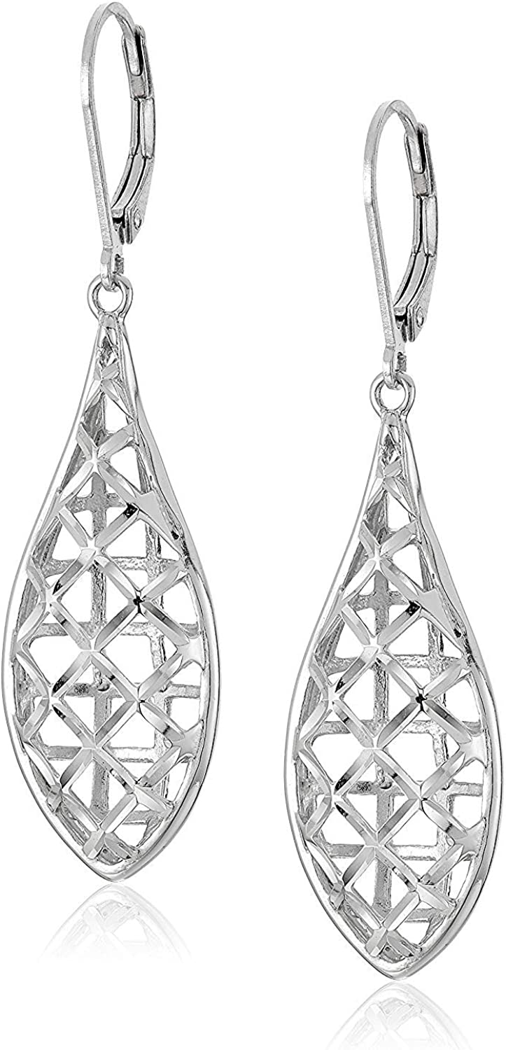 Rhodium Plated 925 Sterling Silver Openwork OFFer Tea National products Geometric Design