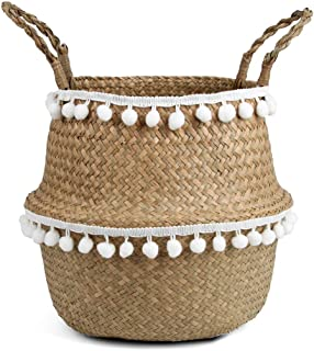 BlueMake Small Ball Macrame Woven Seagrass Belly Basket for Storage, Decoration, Laundry,..