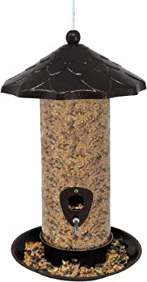 Gray Bunny Deluxe Tube Feeder, 360-Degree Feeding Tray and Ports, Large Sized - 13.5 x 8 inches and 9-Cup Seed Capacity, for Ground Feeders and Small Birds