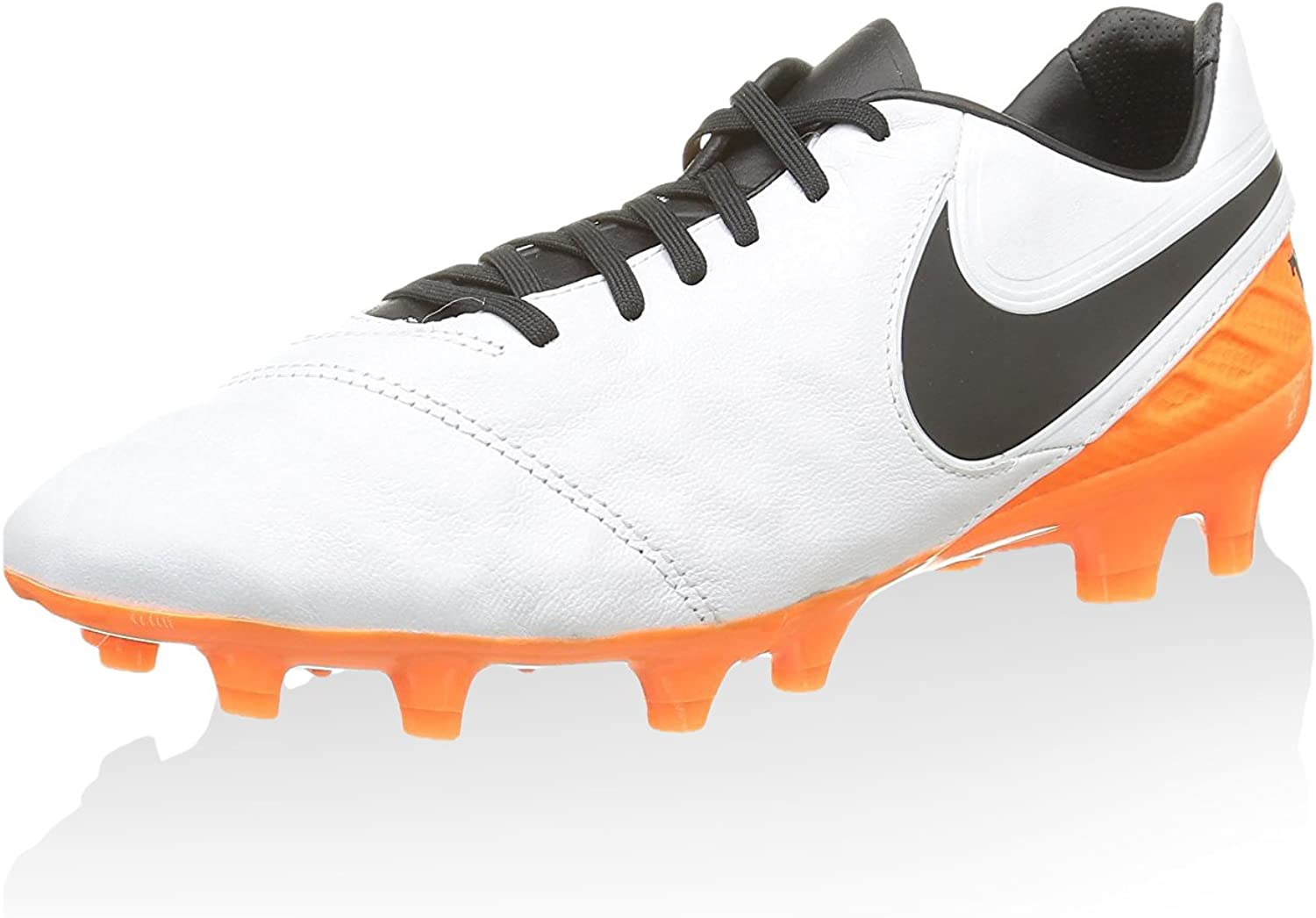 Nike Mens Tiempo Legacy II FG White Black Total orange shoes