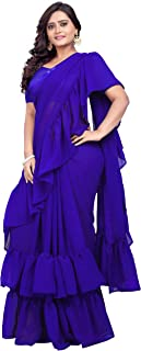 Jaanvi fashion Women's Solid Ruffle Georgette Saree with FrillsWith Unstitched Blouse