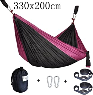 Cutequeen Trading Double Nest Ultralight Portable Outfitters Parachute Nylon Fabric Hammock for Travel Camping,Backpacking,Kayaking,Color: Black/Purple