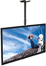 Mount-It Ceiling TV Mount For 32 37 40 42 43 50 55 60 65 70 Inch Flat Panel Televisions, Articulating Hanging Swivel TV Pole Bracket Adjustable Height 175 Pound Capacity, Black (MI-501B), Single
