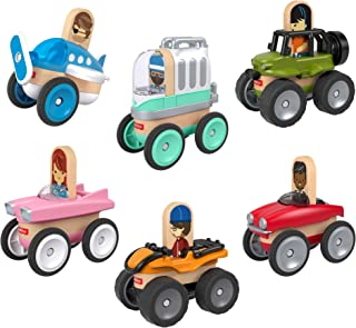 Fisher-Price Wonder Makers Design System Vehicle 6-Pack - Set of 6, 3-Piece Vehicles for Wooden Track Set Ages 3 Years & Up