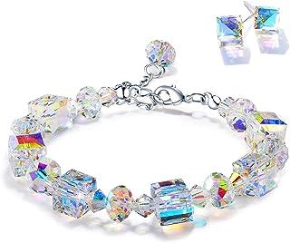 دستبند LALINE BER برای زنان با کریستال سنگ تولد ، دستبندهای پیوندی قابل تنظیم برای دختران با جعبه هدیه نفیس ، هدایای جواهرات برای تولد زنان/ روز ولنتاین/ سالگرد