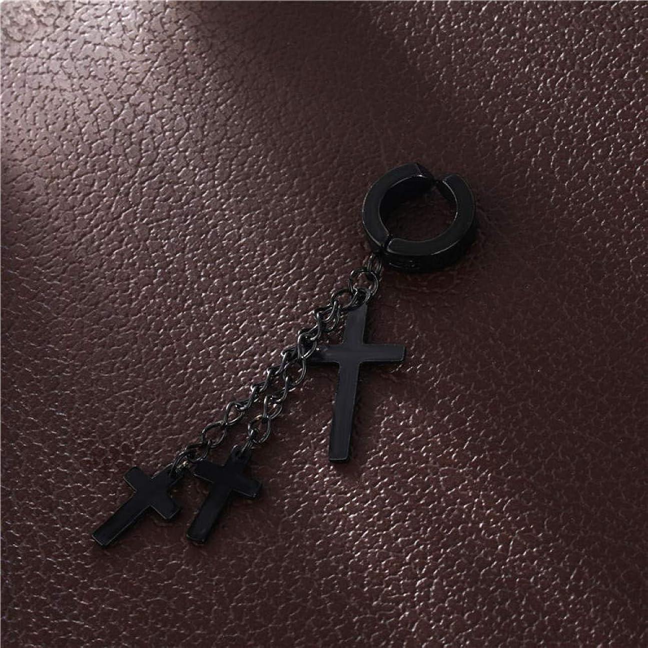 ハーネスビジュアル反動晋良貿易チタンスチール3クロスイヤークリップイヤリングチェーンタッセルクロスイヤークリップイヤリング-3つの十字架が付いた黒い耳クリップ