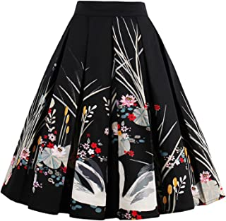 563e8a291c5249 T-Crossworld Women's Vintage Flared High Waist A Line Pleated Midi Skirt  with Pockets