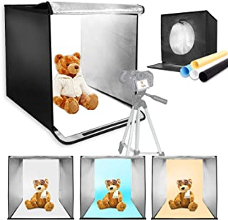 LimoStudio 25 Square Inch Cubic Box Lighting Table Top Foldable Photo Shooting Tent for Photo Shoot with 50 Camera Camcorder Tripod and Tripod Carrying 4 Colors Background AGG2579 LED Panel
