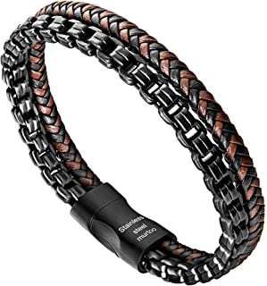 murtoo Mens Bracelet leather and Steel, Stainless Steel Chain and Leather Bracelets for Men