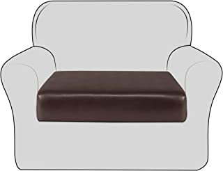 TIKAMI PU Stretch Couch Cushion Cover Elastic Water-Proof Cushion Slipcover Furniture Protector for Sofa Seat (Chocolate, Chair)