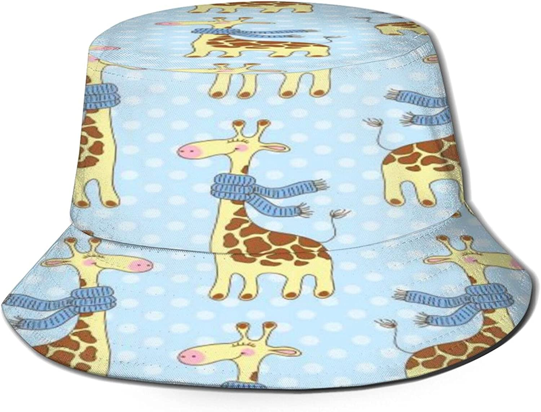 Seamless Giraffes Pattern Bucket Mail order Hat Packa Unisex Sun San Diego Mall Summer