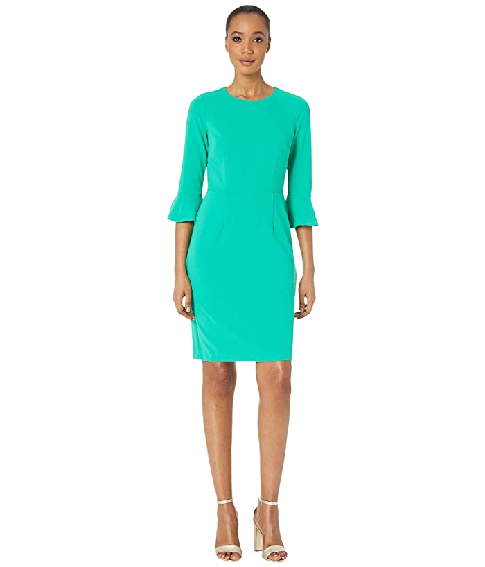 Donna Morgan  3/4 Sleeve Crepe Sheath Dress with Bell Sleeve (Bright Jade) Womens Dress