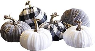 winemana Thanksgiving Decorations Artificial Pumpkin, Set of 6 Foam Lint Pumpkins 3 Colors Fall Autumn Decor for Fireplace...