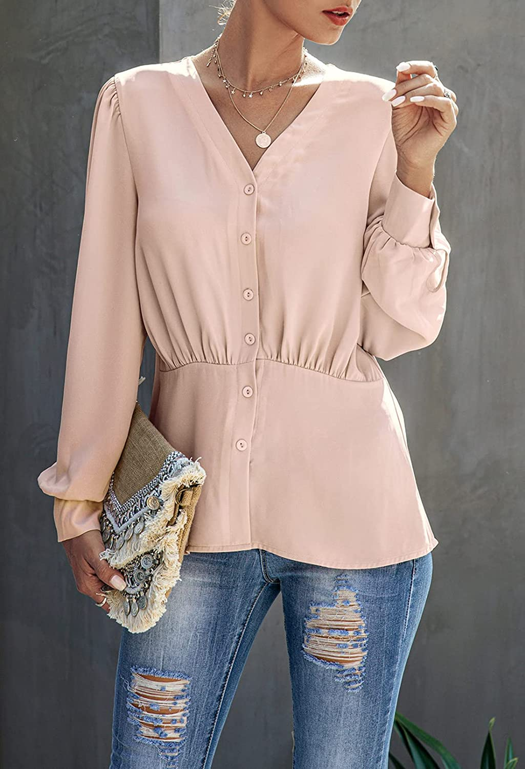 Meenew Women's Button Down Shirts Work Blouses Pleated Long Sleeve Tops Pink M
