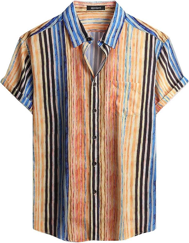 MCEDAR Mens Casual Button Down Shirts Short Sleeve Summe Direct Popular store Striped