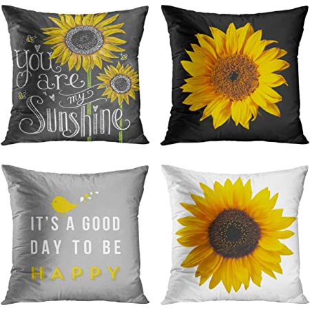 zippered never fade bedroom-living room decor Pillow case 18x18 Separation Sunflower acrylic paint print velveteen canvas cotton