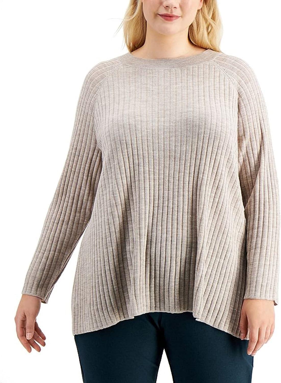 Eileen Fisher Plus Maple Oat Extra fine Merino Wool Crew Neck Boxy Tunic Size 2X MSRP $248