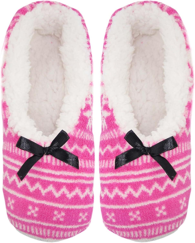 Womens Cozy Fleece Sherpa Lined Slipper Socks