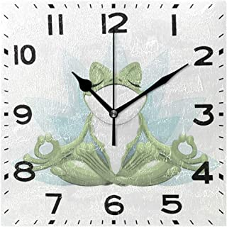 Naanle Funny Frog Doing Yoga in Lotus Flower Print Square Wall Clock, 8 Inch Battery Operated Quartz Analog Quiet Desk Clock for Home,Office,School