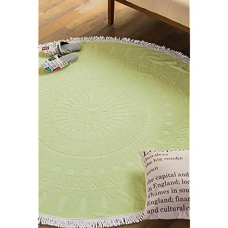 システムK ビーチタオル 大判 ラウンドタオルケット 丸型 円形 150cm ジャガード織 グリーン