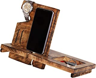 Wooden Phone Docking Station Desk Organizer for Smartphone with Key Holder, Wallet Stand and Watch Organizer Men's Gift Android iPhone (Design1)