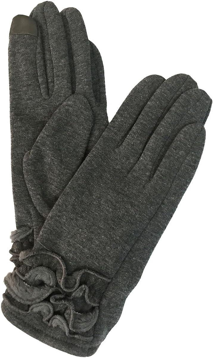 Women's Winter Gloves - Touch Screen - Ruffles Design - Plush & Soft Interior