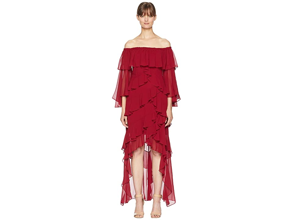 Badgley Mischka Solid Tiered Ruffle (Ruby) Women