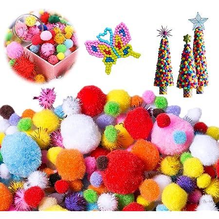 1200 Pièces Pompons Colorés,Pompons à Paillettes,Mini Pompons Loisirs Créatifs,Pom Pom Décoratifs,pour les Décorations de l'Artisanat Créatif Bricolage